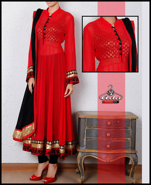 Black/Red Anarkali Dress