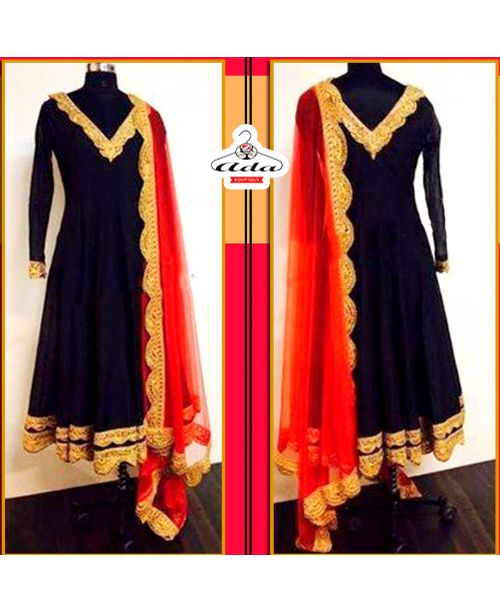 Sizzling Red Black Anarkali Dress