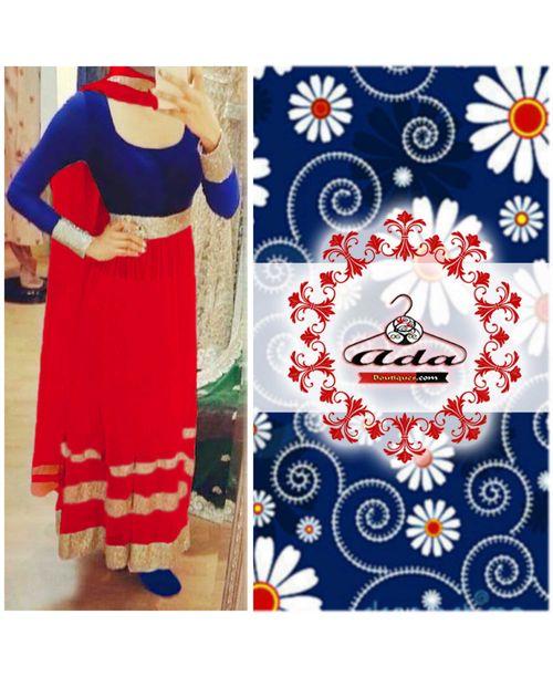 Sizzling Red/Blue Anarkali Dress
