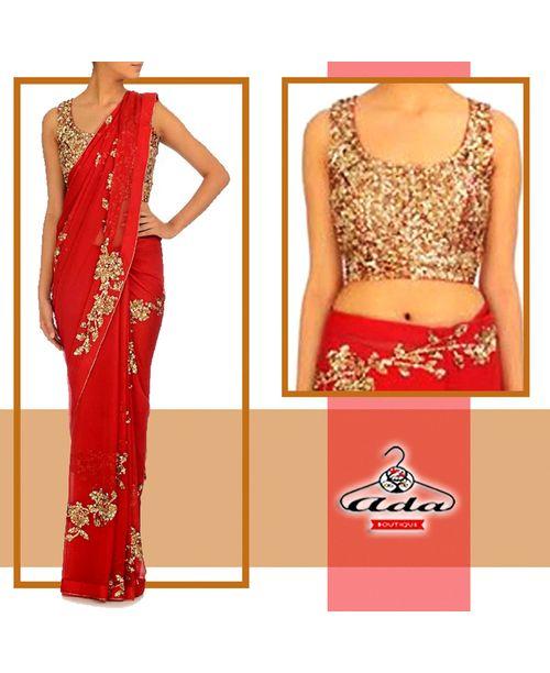 Stylish Red /Golden Sari