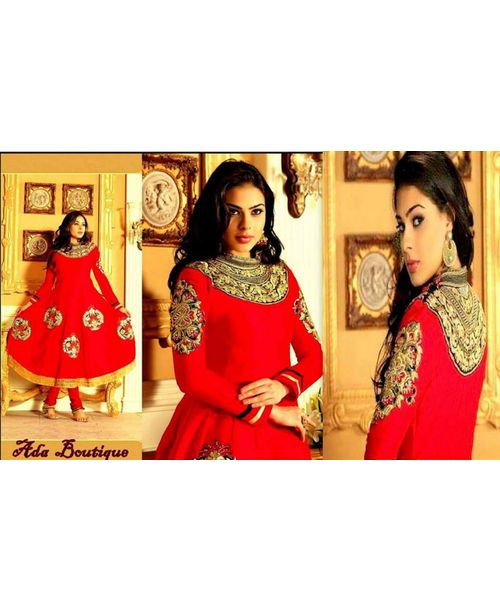 Stylish Red Silk Anarkali