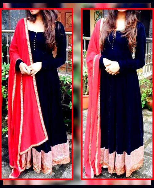 Black/ Pink Anarkali Dress
