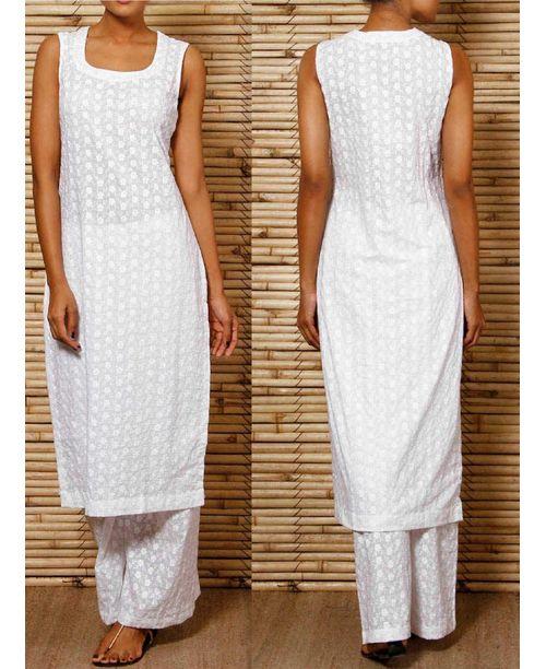Chikan Work White Dress