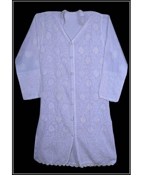Stylish White Lucknowi Kurti