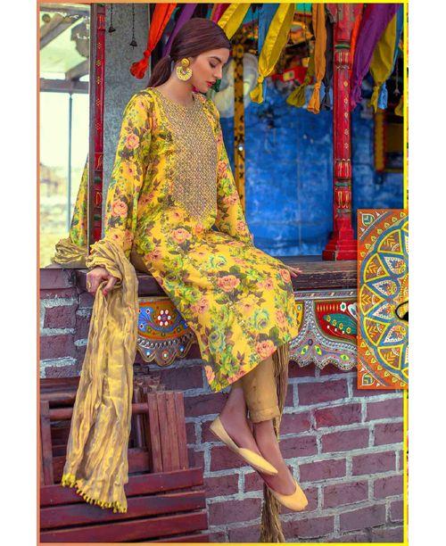 Stylish Yellow Floral Dress