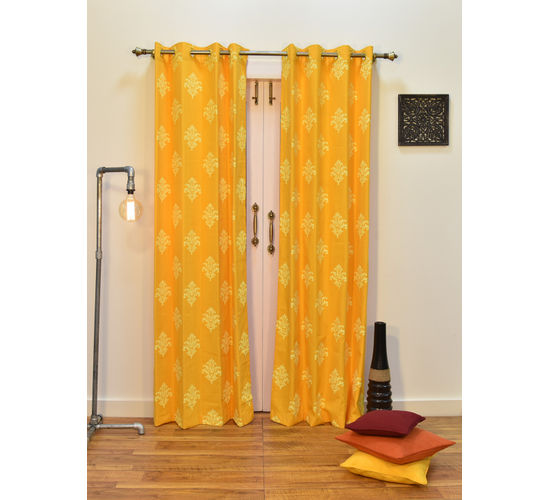 Ariana Berry Damask Yellow Extra Large Door Curtain