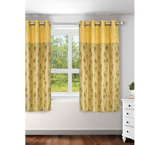 Ariana Linex Flower Gold Window Curtain