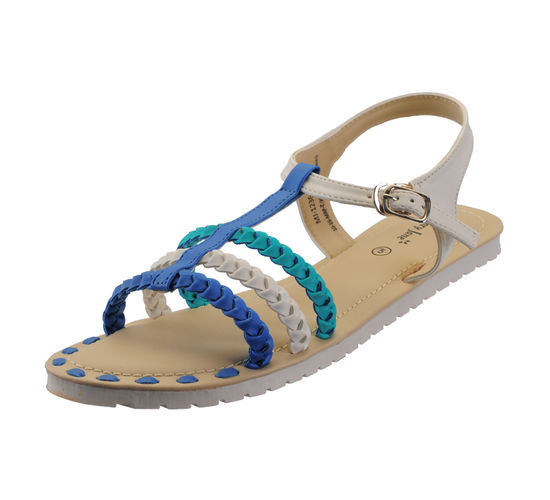 MARYJANE BLUE WHITE/GREEN LADIES CASUALS  SANDALS_MJ-1236