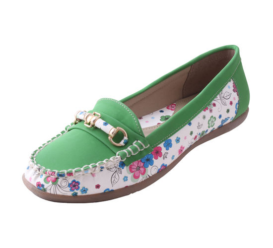 MARYJANE WHITE/GREEN LADIES CASUALS  SHOES_MJ-627