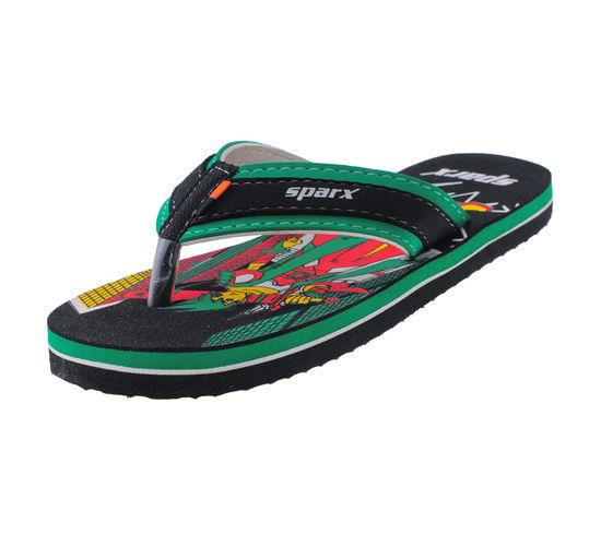 SPARX BLACK/GREEN KIDS CASUALS SLIPPERS_SFK-511