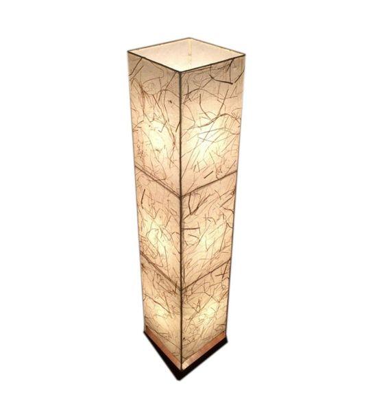 SALEBRATIONS BOX FLOOR LAMP SHADES FABRIC WITH BANANA FIBER AND TEAK  WOOD BASE