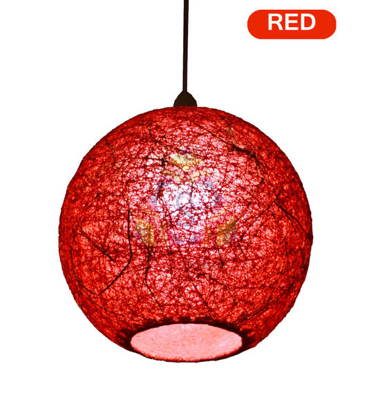 Salebrations red hanging ball lamp shades yarn with banana fiber salebrations red hanging ball lamp shades yarn with banana fiber and led bulb aloadofball Image collections