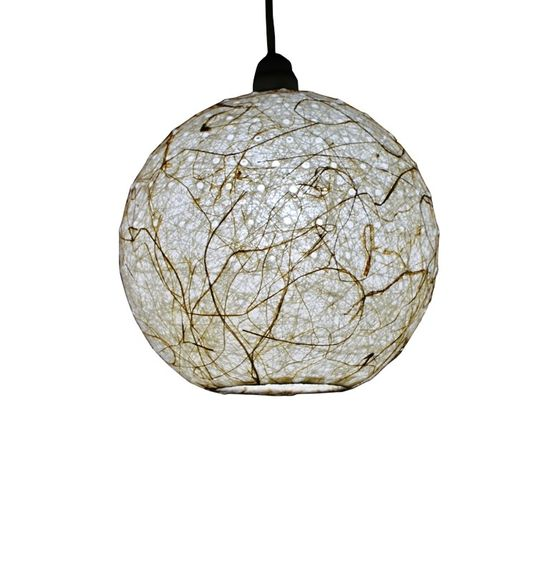 SALEBRATIONS HANGING BALL LAMP SHADES YARN WITH HOLES AND BANANA FIBER