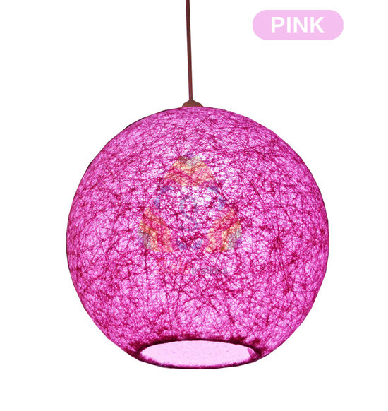 Salebrations Pink Hanging Ball Lamp Shade With Yarn And Led Bulb