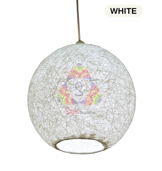 Salebrations White Hanging Ball Lamp Shade With Yarn And Led Bulb