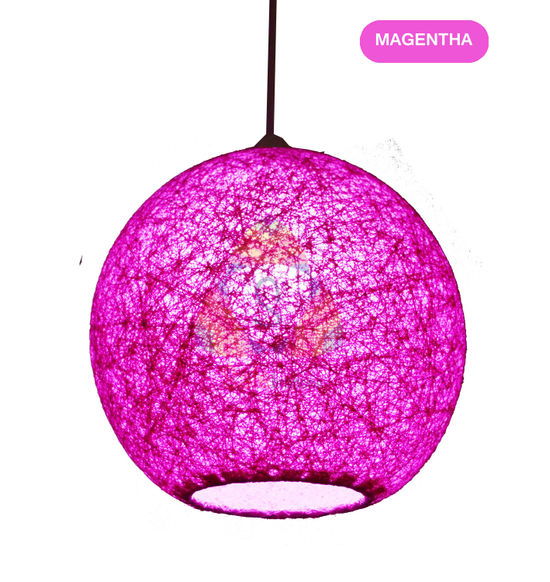 Salebrations Magentha Hanging Ball Lamp Shade With Yarn And Led Bulb