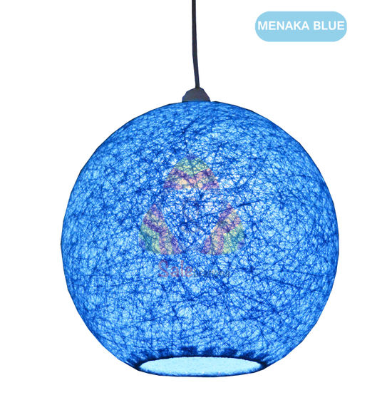 Salebrations Blue Hanging Ball Lamp Shade With Yarn And Led Bulb