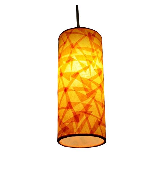 SALEBRATIONS HANGING CYLINDRICAL LAMP SHADES WITH TRIANGULAR CUT SHOJI PAPER