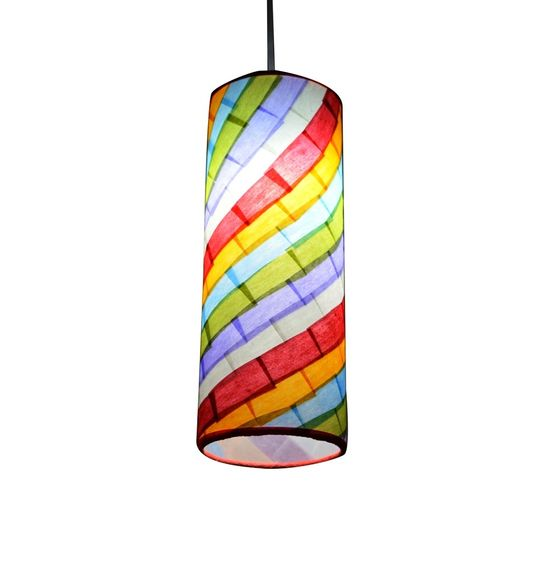 SALEBRATIONS HANGING CYLINDRICAL LAMP SHADES WITH RECTANGULAR CUT WAVE SHOJI PAPER