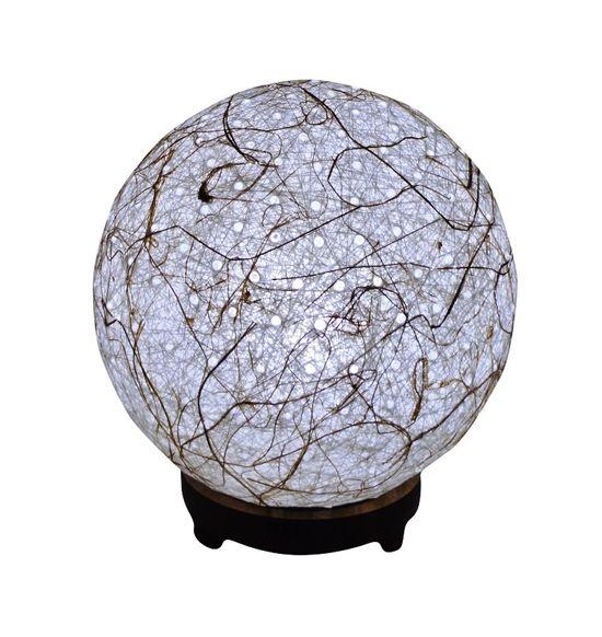 SALEBRATIONS BALL TABLE LAMP SHADES YARN WITH BANANA FIBER HOLES AND WOODEN BASE