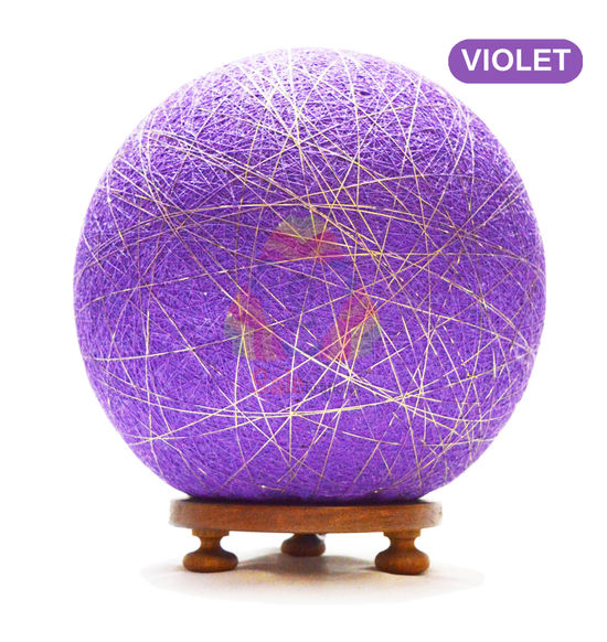 Salebrations Violet Ball Table Lamp Shades Yarn With Golden Yarn And Wooden Base With Led Bulb