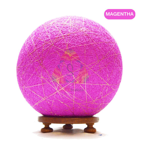 Salebrations Magentha Ball Table Lamp Shades Yarn With Golden Yarn And Wooden Base With Led Bulb