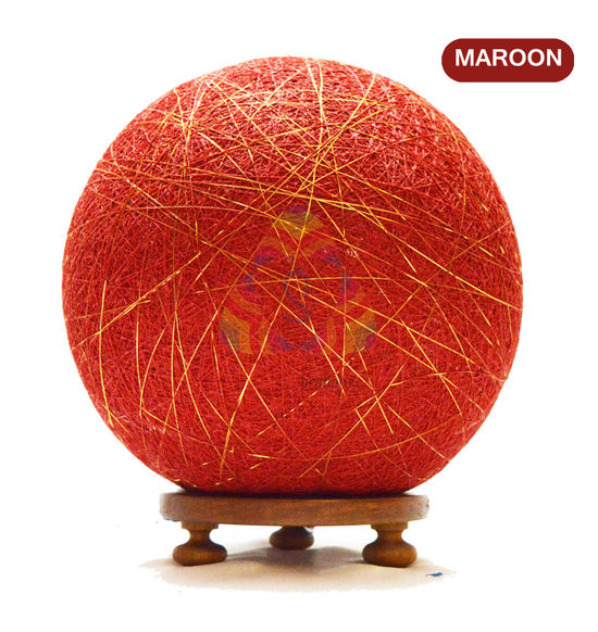 Salebrations Maroon Ball Table Lamp Shades Yarn With Golden Yarn And Wooden Base With Led Bulb