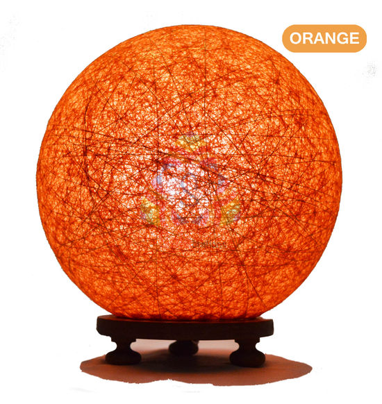 ... Salebrations Orange Ball Table Lamp Shades Yarn With Golden Yarn And  Wooden Base With Led Bulb ...
