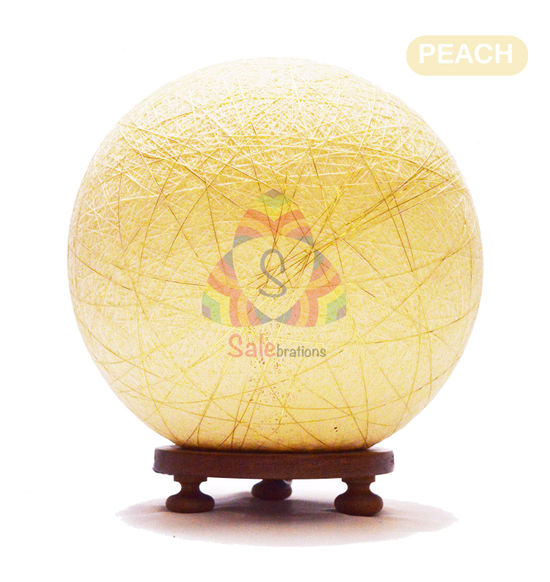 Salebrations Peach Ball Table Lamp Shades Yarn With Golden Yarn And Wooden Base With Led Bulb