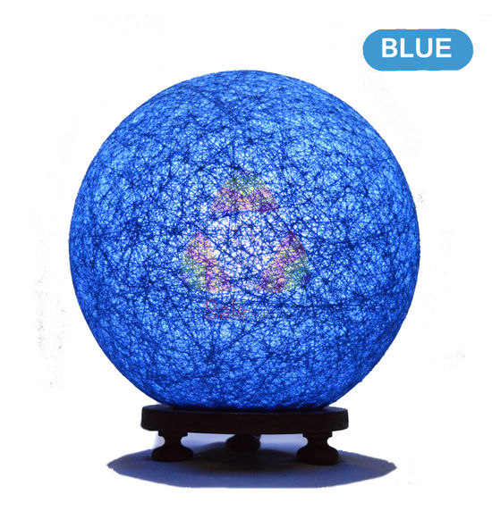 Salebrations Blue Ball Table Lamp Shades With Yarn And Wooden Base With Leb Bulb
