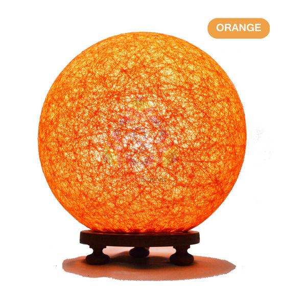 Salebrations orange ball table lamp shades with yarn and wooden base salebrations orange ball table lamp shades with yarn and wooden base with leb bulb aloadofball Gallery