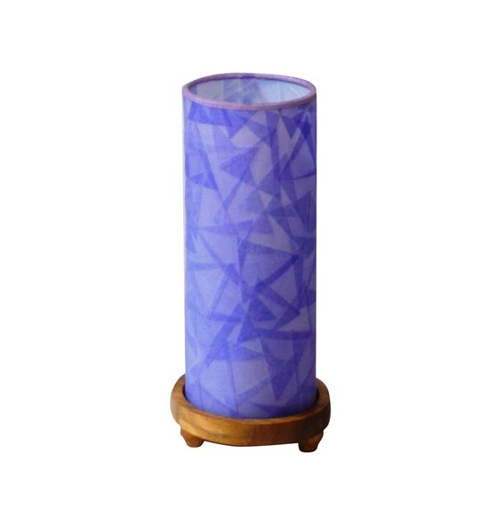 SALEBRATIONS CYLINDRICAL TABLE LAMP SHADES TRIANGULAR CUT SHOJI PAPER WITH WOODEN BASE