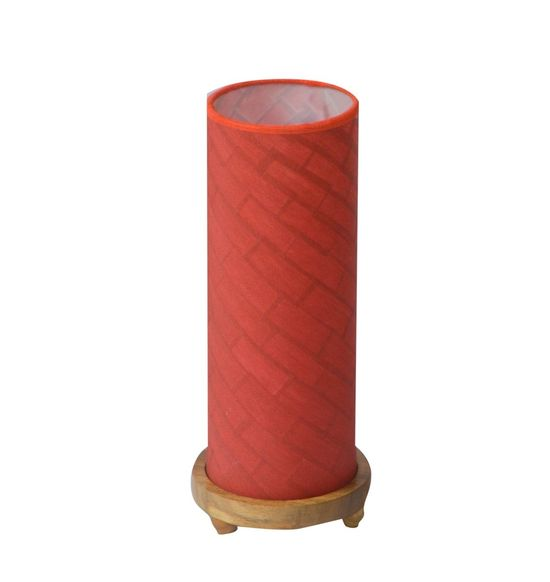 SALEBRATIONS CYLINDRICAL TABLE LAMP SHADES  WITH RECTANGULAR CUT WAVE SHOJI PAPER AND WOODEN BASE