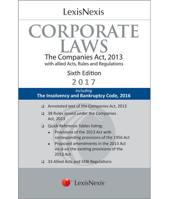 LexisNexis Corporate Laws (The Companies Act, 2013 with allied Acts, Rules and Regulations) Including The Insolvency and Bankruptcy Code, 2016 (Palmtop Edition)