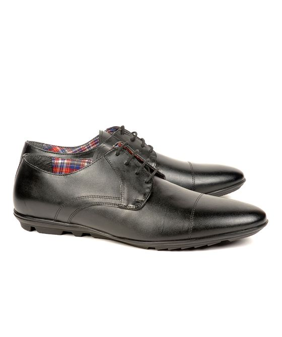 Leatherplus Black Casual Lace up Shoes for Men (12080)