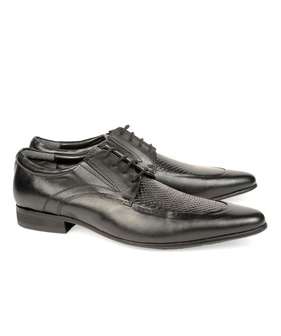 Leatherplus Black Semi-formal Lace up Shoes for Men (12136)