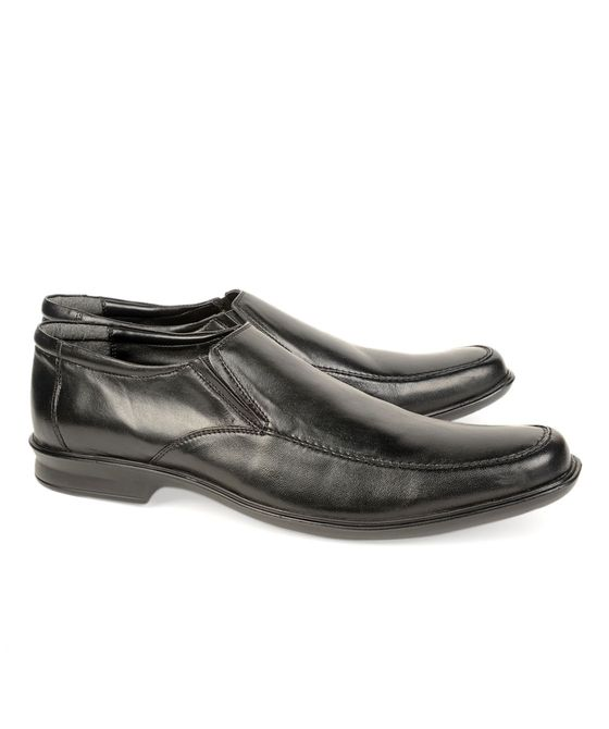 Leatherplus Black Formal Slip on Shoes for Men (12137)