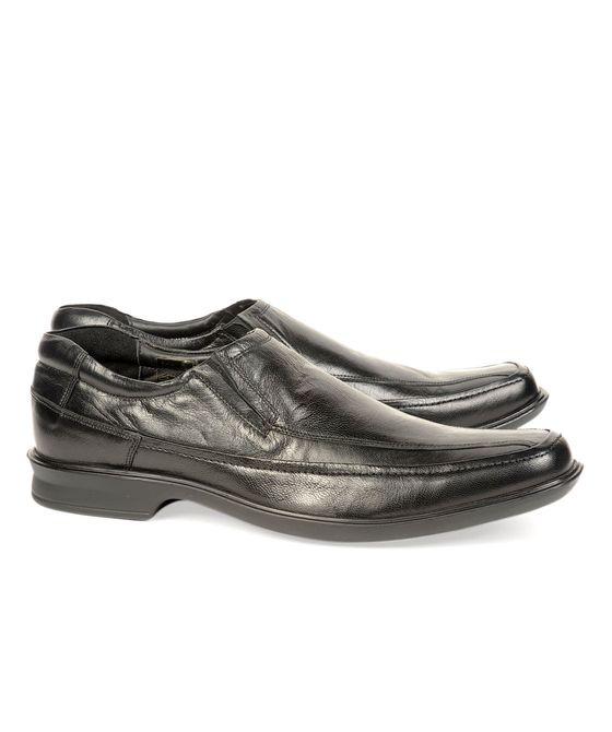 Leatherplus Black Formal Slip on Shoes for Men (12139)
