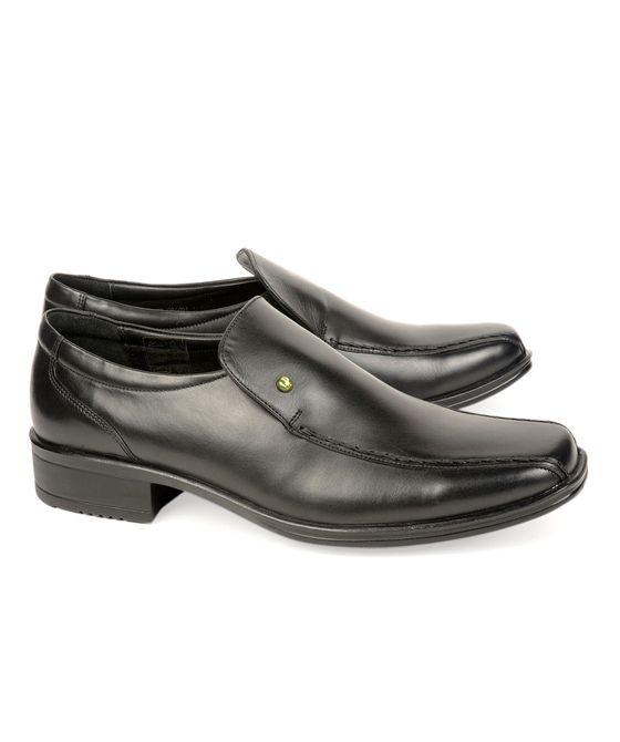Leatherplus Black Formal Slip on Shoes for Men (12157)