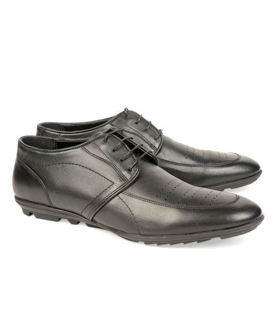 Leatherplus Black Semi-formal Lace up Shoes for Men (12182)