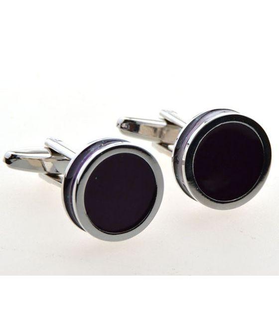 Dark Purple Color Enamel Cufflinks (153016)
