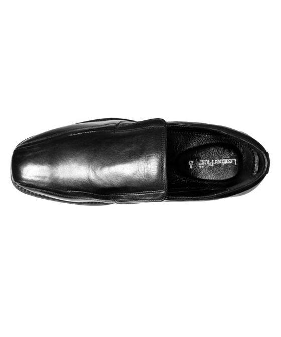Leatherplus Black Formal Slip on Shoes for Men (12407)
