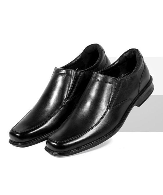 Leatherplus Black Formal Slip on Shoes for Men (12459)