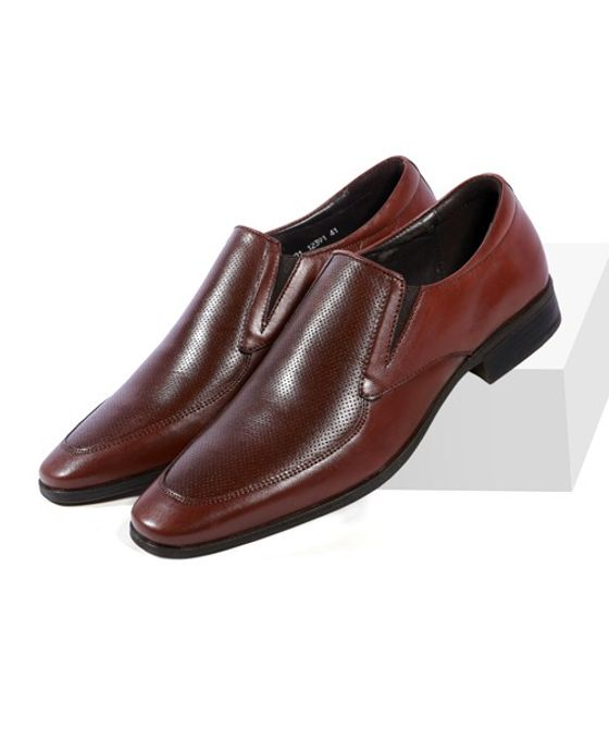Leatherplus Brown Formal Slip on Shoes for Men (12391)