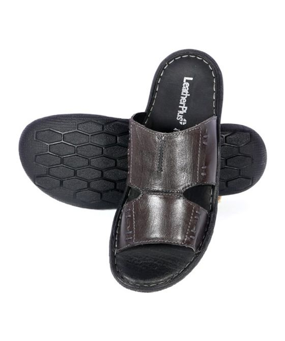 Leatherplus Black Slipon Sandal  for Men (12314)