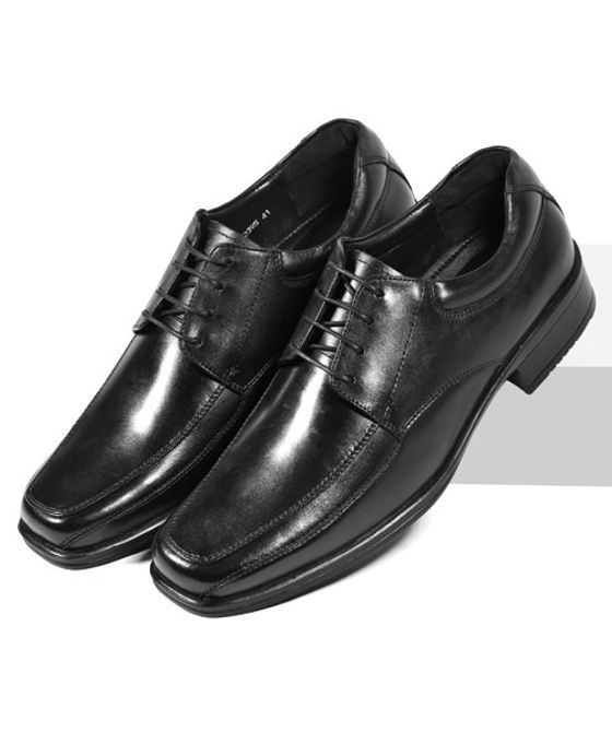 Leatherplus Black Formal Lace up Shoes for Men (12395)