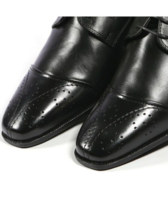 Leatherplus Black Semi-formal Lace up Shoes for Men (12251)