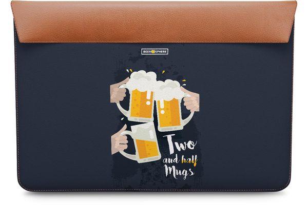 "Beer 2.5 Mugs Clink Real Leather Envelope Sleeve For MacBook Pro 13"""