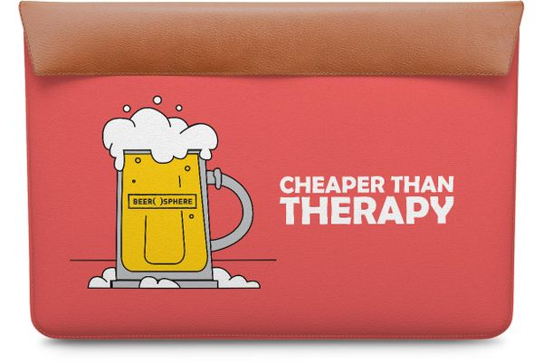 Beer Cheap Therapy Real Leather Envelope Sleeve For MacBook Pro 15""
