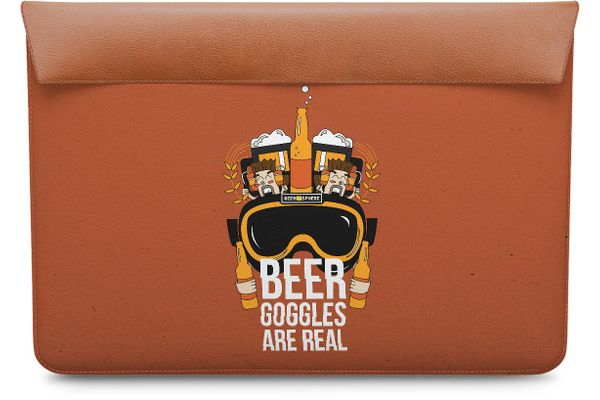 """Beer Goggles Real Real Leather Envelope Sleeve For MacBook Pro 13"""""""